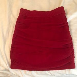 Red short skirt. Zips in the back
